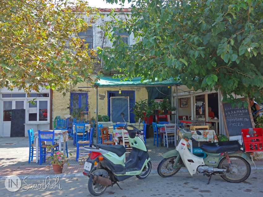 Motorcycles in front of a taverna in Kamariotissa